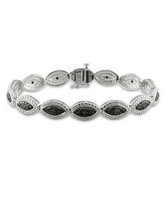 Amour : Silver 0.17 ct TDW Black Diamond Bracelet With Black Rhodium Plating