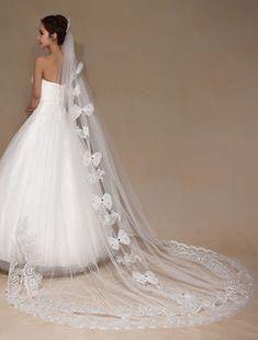 0b9a1c899d6d Archi di velo da sposa color avorio in Applique Perline Tulle pizzo velo da  sposa (