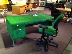 Desk, desk and chair, astro turf