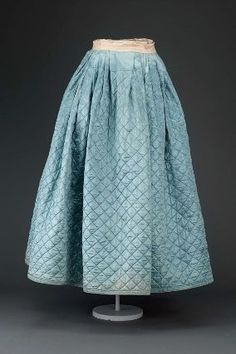 Woman's quilted petticoat        American, 18th century     Dimensions      100.5 x 149 cm (39 9/16 x 58 11/16 in.)  Medium or Technique      Silk satin quilted with wool-serge lining, silk grosgrain ribbon banding, and linen waistband and drawstring