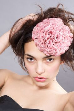 need to make this - individual sinamay roses cleverly put together to form this lovely Fascinator