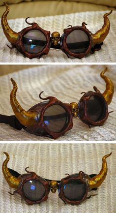 Really awesome looking Steampunk Demon Goggles by ajldesign.deviantart.com