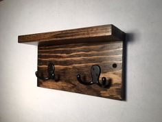 Small hook rack with shelf 2 hooks entryway by TreetopWoodworks