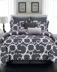 Update your bedding in style with the Rhys Hotel Online Quilted Oversized/Overfilled Comforter Set by Duck River Textile . This reversible bedding set. Home Decor Inspiration, Comforter Sets, Comforters, Bed Comforters, Home, Bed, Grey Bedding, Luxury Bedding, Bedding Sets