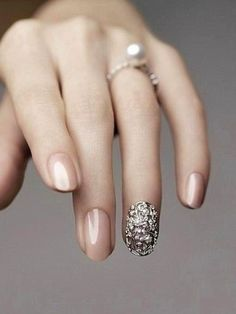 #Bridal #Wedding #Nails #Polish #Neitral #Nude #Pink #Design #3D #Applique #Rhinestone #Crystal #Sparkle