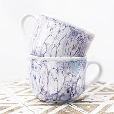 """<happiness in a cup> have you seen my latest YouTube video?  I show you how to make these watercolour/marbled mugs so easily!  Search """"wonder forest"""" on YT and let me know if you watched it!! ❤"""