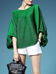 Best 11 Buy Tops For Women from Misslook at Stylewe. Online Shopping Green Solid Crew Neck Casual Long Sleeved Top, The Best Tops Look Fashion, Fashion Outfits, Womens Fashion, Fashion Design, Fashion Night, 90s Fashion, Dress Fashion, Fashion Clothes, Winter Fashion