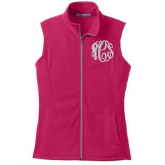 Ladies Monogrammed Microfleece Vest In All Colors ❤ liked on Polyvore featuring outerwear, vests, polar fleece vest, pink vest, monogrammed vest, vest waistcoat and lightweight vest