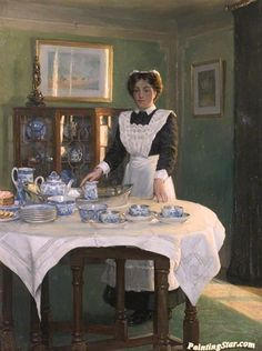 Chewett, Albert Ranney (b,1877) Maid Preparing Tea