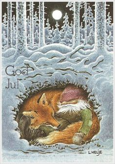 God Jul  ~~ Winter illustration, gnome, fox den snow forest full moon ( Helje ?)