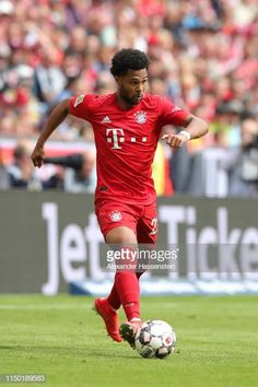 Serge Gnabry of Bayern Muenchen runs with the ball during the Bundesliga match between FC Bayern Muenchen and Eintracht Frankfurt at Allianz Arena on May 2019 in Munich, Germany. Serge Gnabry, Don Juan, Munich, Football, Running, Fc Bayern Munich, Soccer, Futbol, Keep Running