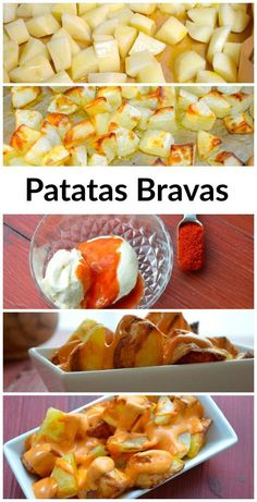 Tapas from Spain: Patatas Bravas - Potatoes with a special Spanish spicy mayo.  We roasted the potatoes instead of frying them.  This is a great gluten free appetizer that can also be made vegan by using a vegan mayo.  Enjoy!
