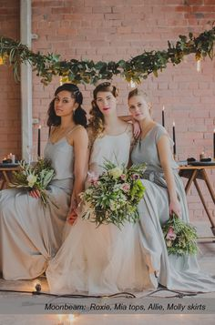 Caroline Campion natural silk bridesmaid dresses | Two piece tops + skirts for multiple looks | Ships worldwide, available at http://www.carolinecampion.com/collection/bridesmaid-15/ | Susannah Blatchford Photography #CampionCouture