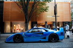 Shiny blue Ferrari F40.