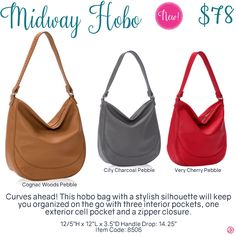 Midway Hobo by Thirty-One. Fall/Winter 2016. Click to order. Join my VIP Facebook Page at https://www.facebook.com/groups/1603655576518592/