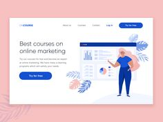 Landing Page - Online Courses designed by Aleksandra Buja. Connect with them on Dribbble; the global community for designers and creative professionals. Responsive Web Design, Ui Ux Design, Google Material, Daily Ui, Flat Illustration, Mobile Design, Brainstorm, User Experience