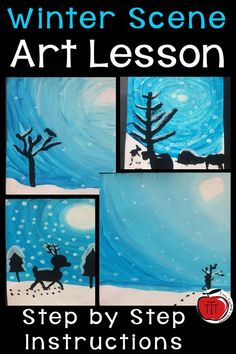 Step by step instructions on how your students can paint a beautiful winter scene. Using paint, students focus on color Christmas Art Projects, Winter Art Projects, Winter Crafts For Kids, Art For Kids, Winter Scene Paintings, Winter Painting, Winter Thema, Winter Szenen, 3rd Grade Art
