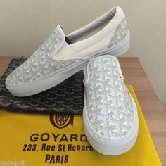 e50a3a6eadf NEW-Vans-X-Goyard-Custom-Made-Slip-On-White-Christpher-Wanton-Style-Rare