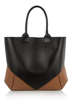 Easy tote in black and tan leather