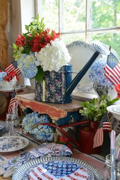I'm in the Potting Shed, celebrating the Red, White and Bloom! Flowers in a flag formation, were blooming on melamine plates on sale at Pier . Ideal for a little patriotic tabletop fun in the …