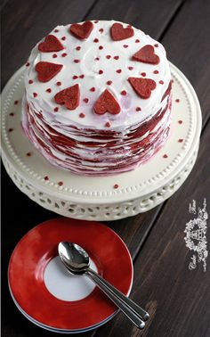 Red Velvet Crepes Cake. looks great for valentines day!