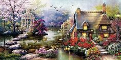Stone Path Lodge - Counted cross stitch pattern in PDF format by Maxispatterns on Etsy