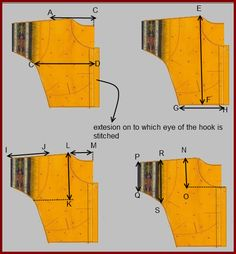 """SEWING BLOUSE Fold the measurement blouse in to 4 folds as shown leaving the extension of the placket outside A-C = shoulder width ¼"""" .While taking thi. Saree Blouse Patterns, Dress Sewing Patterns, Saree Blouse Designs, Sari Blouse, Pattern Sewing, Neck Pattern, Long Blouse, Dress Designs, Sleeveless Blouse"""