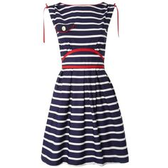 Trollied Dolly Nautical Prom Dress ($125) ❤ liked on Polyvore featuring dresses, vestidos, nautical, robe, blue dress, trollied dolly, trollied dolly dress, blue cocktail dresses and blue prom dresses