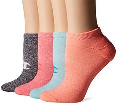 Champion Womens Double Dry 4Pack Performance No Show SocksHeathers GreyOrangeBluePink Assorted 59 * You can get more details by clicking on the image.