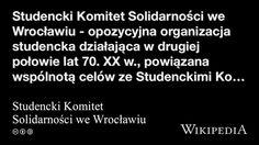 """""""Studencki Komitet Solidarności we Wrocławiu"""" på Workers Union, Organization"""