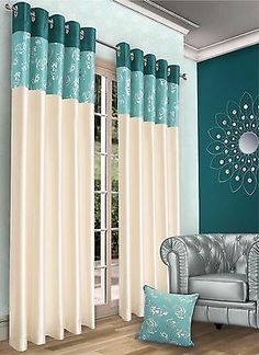 Ready Made Floral Eyelet Curtains. These luxurious and stylish fully lined curtains will make any room that extra bit special. Luxurious faux silk to create a stunning look of silk. Colours Available. Cool Curtains, Lined Curtains, Bedroom Color Schemes, Bedroom Colors, Door Coverings, Curtain Designs, Windows And Doors, All The Colors, Household