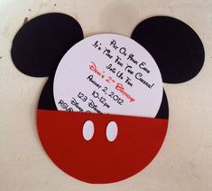 Handmade Custom Red Mickey Mouse Birthday Invitations