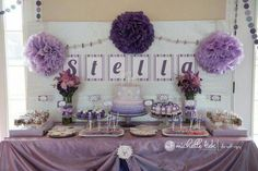 Mesa de dulces, lila, violeta