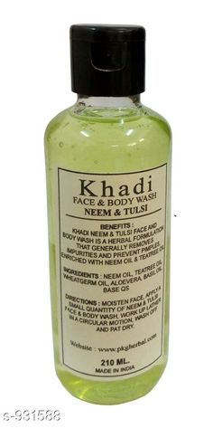Checkout this latest Shower Gel & Body Wash Product Name: *Khadi Neem Tulsi Face & Body Wash Pack of 1* Product Name: Khadi Neem Tulsi Face & Body Wash Pack of 1 Brand Name: Khadi Type: Liquid Multipack: 1 Flavour: Neem Country of Origin: India Easy Returns Available In Case Of Any Issue   Catalog Rating: ★3.9 (730)  Catalog Name: Free Sample body wash Standard Choice Body Care Products Vol 6 CatalogID_109676 C177-SC1979 Code: 431-931588-102
