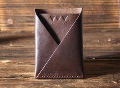 Leather Minimalist Wallet - folded card wallet handmade, card holder, Card Sleeve, credit card holder, slim card wallet, Business card#Brown