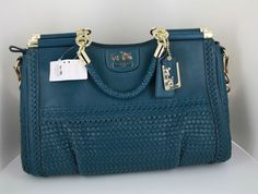 Impossible to find ~ Rare New COACH MADISON FLAGSHIP Woven Leather CAROLINE TOTE BAG Purse Blue Gold   eBay
