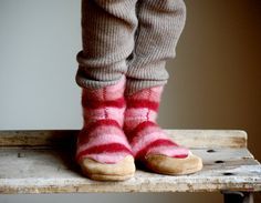 Kids Wool Slippers Girls Shoes Eco Friendly size 7.5 by WoolyBaby, $44.00
