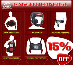 Get 15% off on Boxing Body Protector, Chest Protector, Headgear, Groin Protectors, Punch and Body Shield, Mouth-guards, Women's Protection. Amber merchandises some of the high quality protective gears for boxing which includes body protectors, chest protectors, mouth guards, headgear's and groin protectors.