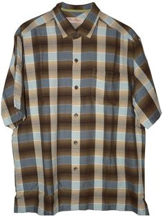 Tommy Bahama Limbo Lagoon Plaid Silk Camp Shirt (Color: Cola, Size XL)