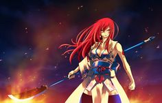 Perhaps one of my favorite characters from Fairy Tail. Erza Scarlet is always one to look to for armor, weapon and action designs. With her Magic she is able to summon any kind of Weaponry or Armor she chooses and with her Fiery temper, she's not one to cross blades with on a regular basis.  (www.zerochan.net/347884)