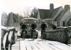 Paul Gilbert, Tony Curtis and Gene Nelson ride bikes.