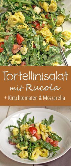 Tortellinisalat mit Rucola – Madame Cuisine Tortellini Salad with Arugula Pizza Recipes, Pork Recipes, Salad Recipes, Vegetarian Recipes, Cooking Recipes, Healthy Recipes, Dinner Recipes, Snacks Recipes, Healthy Eating Tips