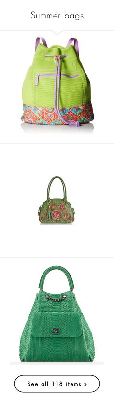 """Summer bags"" by lorika-borika on Polyvore featuring bags, backpacks, mesh bag, vera bradley bags, green bag, rucksack bags, knapsack bag, handbags, leather satchel и real leather handbags"