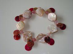 Pink Shell Bracelet by traceysjewellery on Etsy, Shell Bracelet, Handmade Jewellery, Shells, Pearl Earrings, Pearls, Bracelets, Pink, Etsy, Jewelry