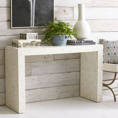 Minimalist Bone Inlay Console - White - NEW