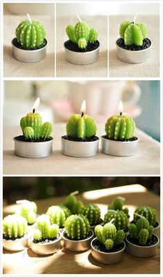 A cactus is a superb means to bring in a all-natural element to your house and workplace. The flowers of several succulents and cactus are clearly, their crowning glory. Cactus can be cute decor ideas for your room. Cactus Candles, Diy Candles, Decorative Candles, Pillar Candles, Henna Kunst, Cactus Decor, Planting Succulents, Succulent Plants, Succulent Terrarium