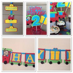 Monkey & Train decorations. Primary colors