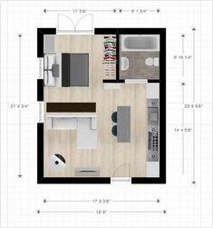 Small Apartment Plans Cabin Or Studio Apartment Layout Small Apartment Floor Plans 1 Bedroom Studio Apartment Floor Plans, Studio Floor Plans, Studio Apartment Layout, Studio Layout, Studio Apartment Decorating, Apartment Design, House Floor Plans, Apartment Ideas, Small Apartment Plans