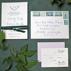 """""""So fun to see this calligraphy invitation set I designed and lettered in the pages of @seattlemetbrideandgroom - floral, styling and table top design by…"""""""