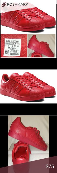 Big Boys Adidas Superstar Supercolor Red Like New.Big Boys  Adidas Superstar Supercolor Pack Running Shoes - Bright Red... Adidas Shoes Athletic Shoes